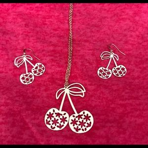 Jewelry - Cherry Necklace and Earring Set NWOT